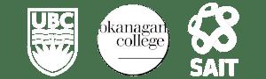 UBCO, Okanagan College, SAIT logos